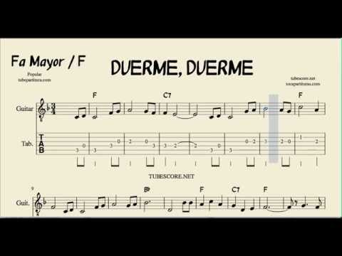 Tubescore Duerme Duerme Tab Sheet Music For Guitar In F