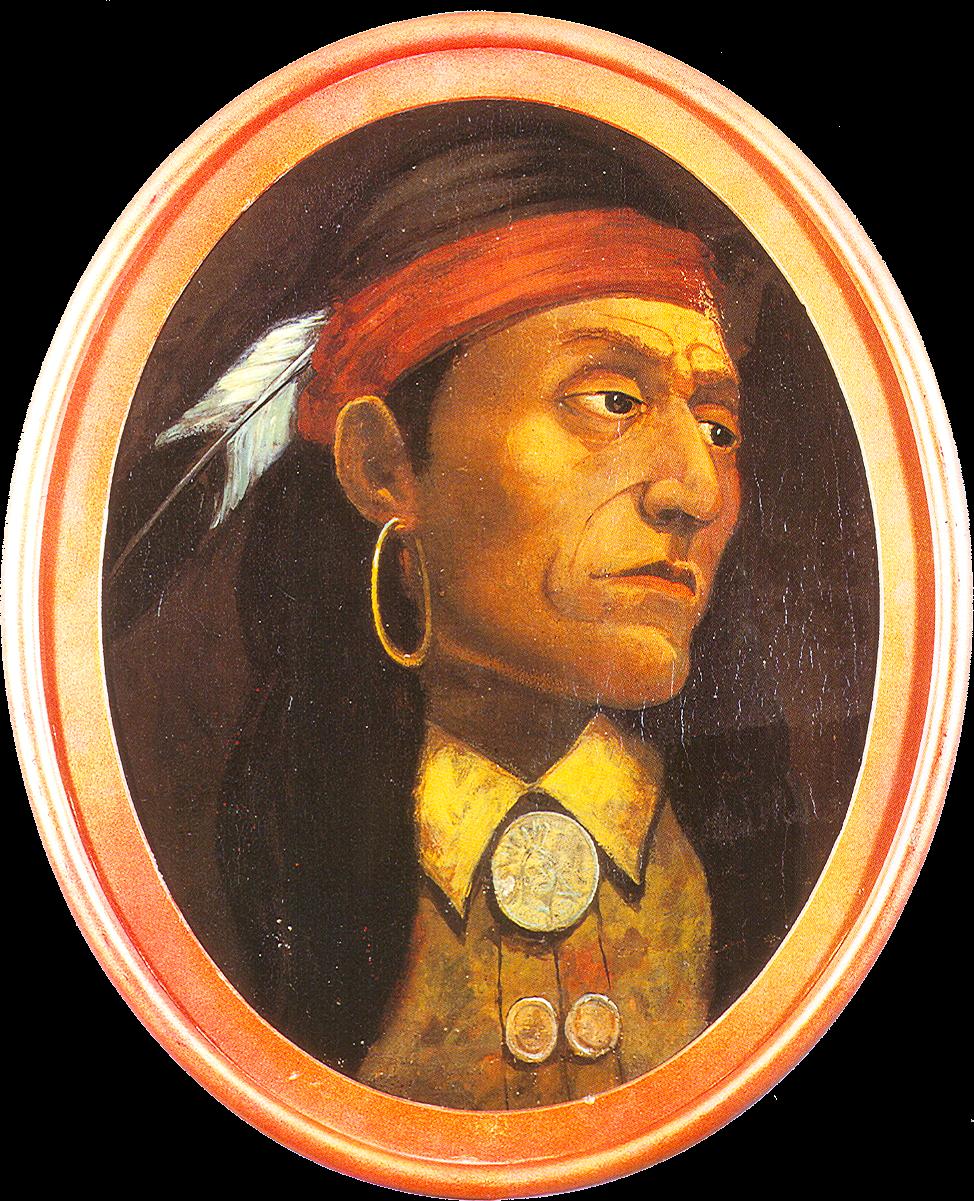 Retrato de Pontiac, según lo imaginó John Mix Stanley en el siglo XIX.