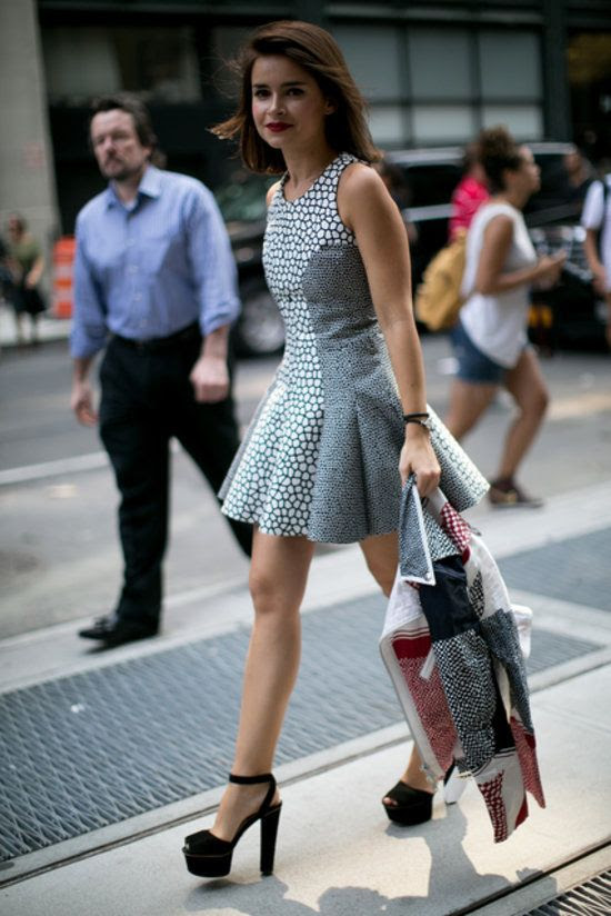 Miroslava looked sweet in a fit-and-flare dress and platforms. #nyfw #streetstyle