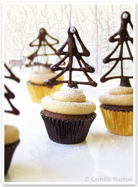 Chocolate Christmas Trees for Cupcakes