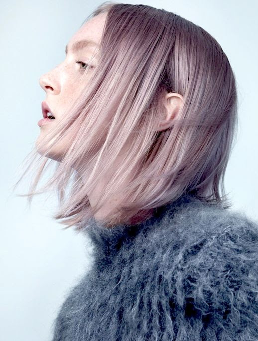 Le Fashion Blog Hair Crush Short Straight Lavender Hair Fuzzy Mock Neck Sweater Via W Mag