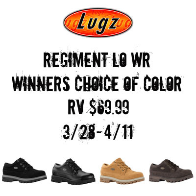 Lugz-Regiement-LO-WR-Giveaway. Ends 4/11