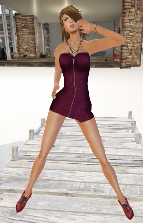 NEW! DYN Denim Zip Dress - Wine