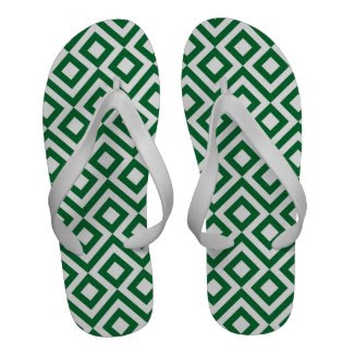 Green and White Meander Flip Flops