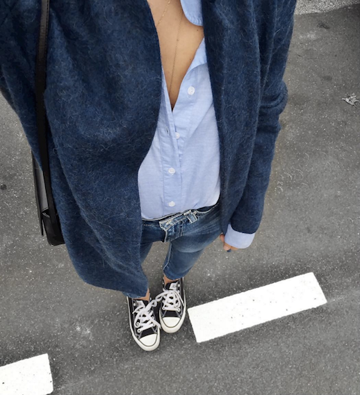 Le Fashion Blog Ways To Wear Black Converse Sneakers Cardigan Button Down Shirt Instagram Via AudreyLombard