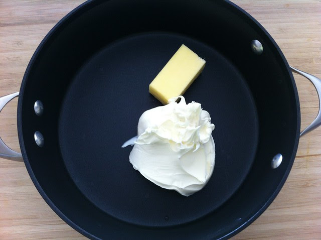 Mascarpone and Butter Added to Sauce Pan