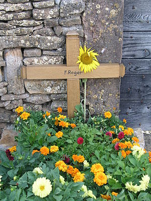 Brother Roger grave in Taizé village