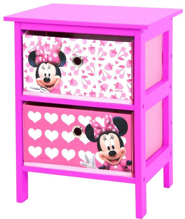 Minnie Mouse 2 Drawer Pink And White Bedroom Storage Unit By
