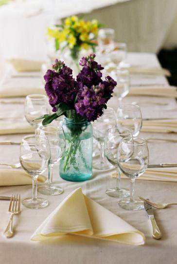 masonjarpurpleweddingflowercenterpiece purple WEDDING CENTERPIECES