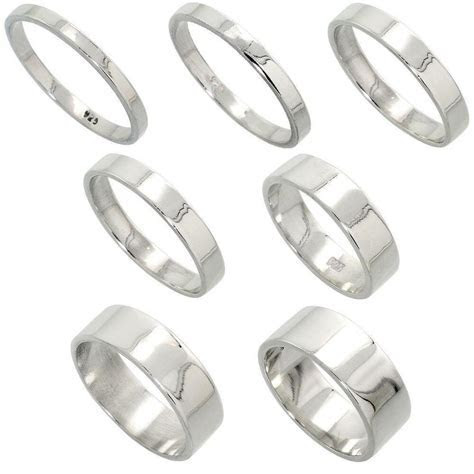 2mm to 8mm Men & Women Sterling Silver FLAT Wedding Band
