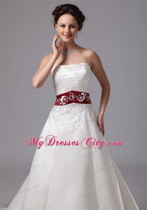 Strapless White Embroidery Chapel Train Wedding Dress with