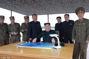 kim jong un durante il lancio di un missile