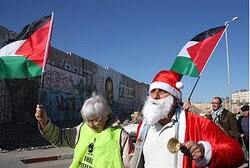 Protester dressed as Santa