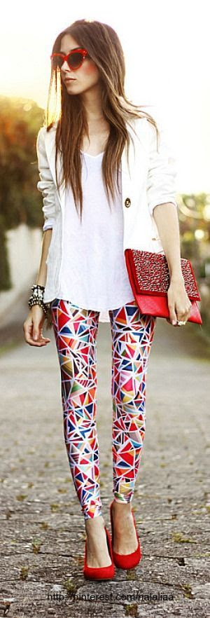graphic leggings and red accessories. #zappos