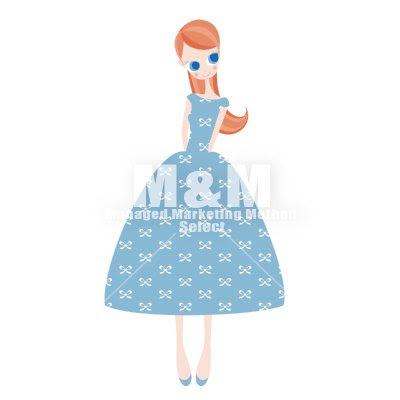 イラスト素材 Woman 22 スカイブルーのリボン柄ドレスの女の子 Mm