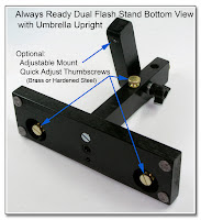 DF1039: Always Ready Dual Flash, PW and  Umbrella Stand - Shown with Optional Adjustable Mount and Quick Adjust Thumbscrews