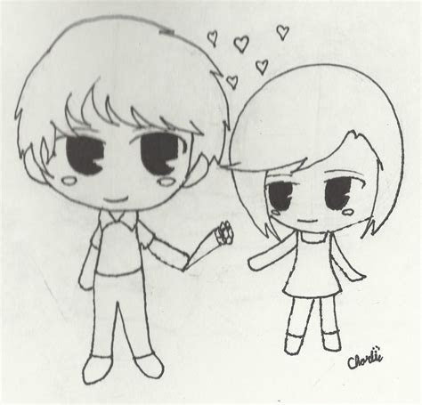 anime chibi couple drawing