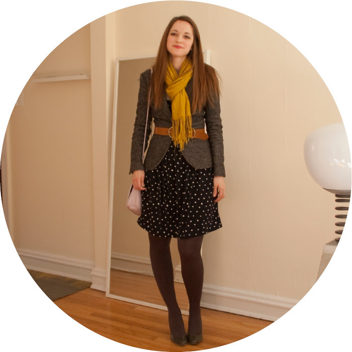 february outfit, summer dress with blazer, remix, polka dot dress, navy and gray, tweed blazer, mustard scarf, belted jacket, lavender purse