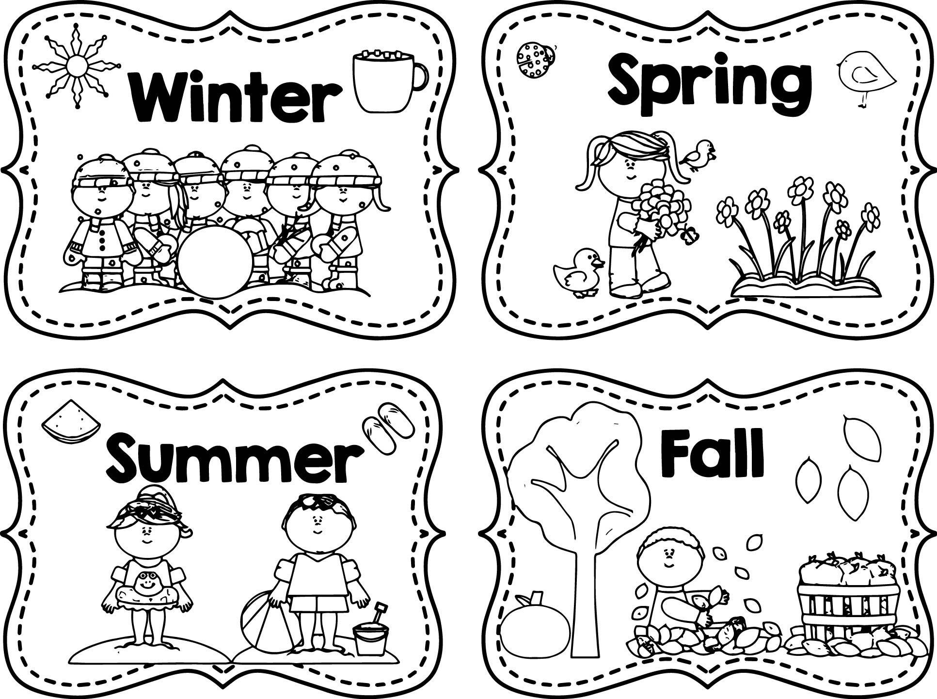 Winter Spring Summer Fall Coloring Page | Wecoloringpage.com