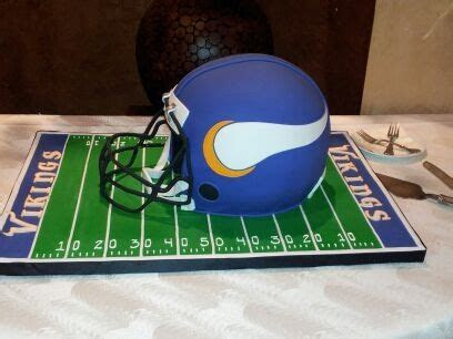 Our Vikings groom's cake. The helmet was the cake!!! It