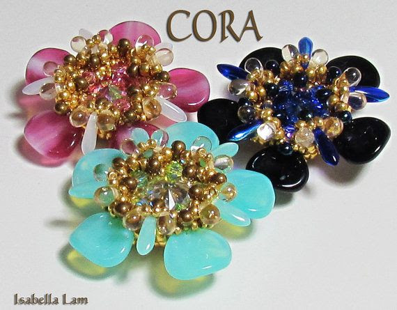 CORA Swarovski Rivoli Pendant Rose Petal Flower by bead4me on Etsy