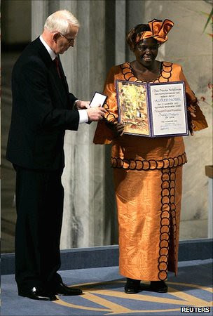 Dr. Wangari Maathai of Kenya winning the Nobel Prize. She recently passed away after a long battle with cancer. Her work centered around environmental issues in Africa. by Pan-African News Wire File Photos