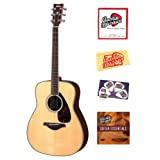Yamaha FG730S Folk Acoustic Guitar Bundle with Instructional DVD, Strings, Pick Card, and Polishing Cloth - Natural...