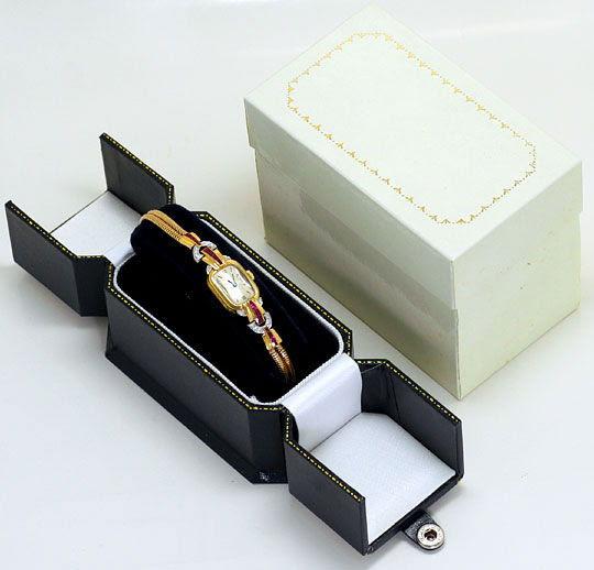 Foto 5, Antike Art Deco Armbanduhr Diamanten Rubine Gold Platin, U1496