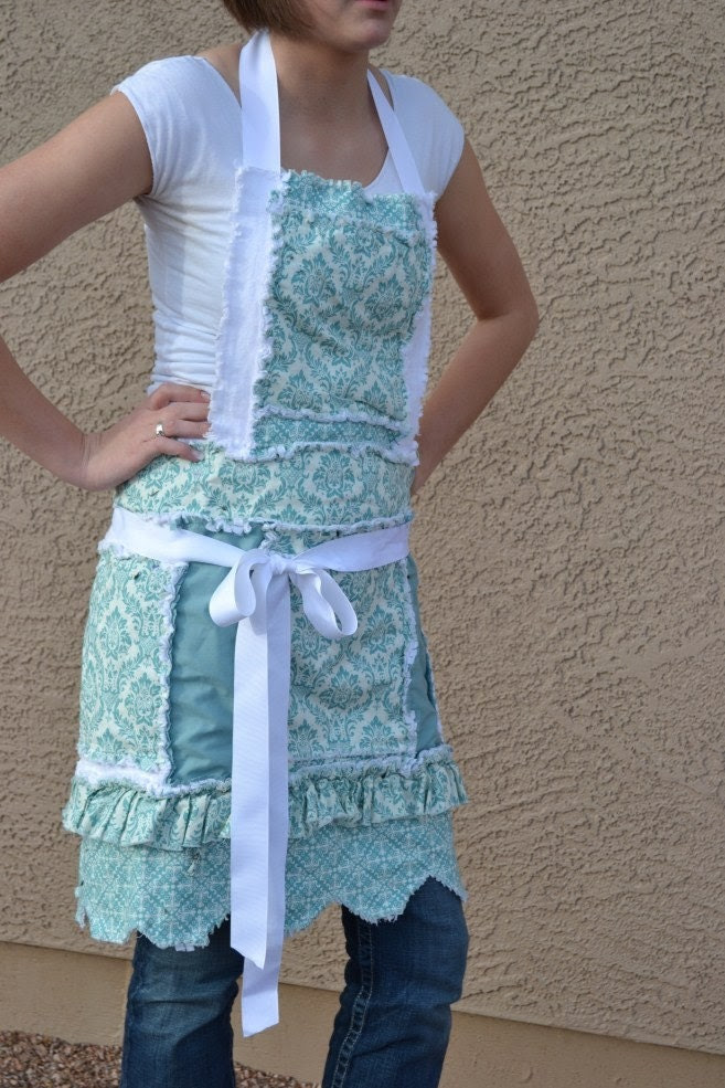 Blue Damask and White New Pattern, Rag Apron with Ruffle and Scallops for Women and Girls