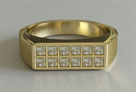 A Mens Yellow Gold Dress Ring with Princess Cut Diamonds