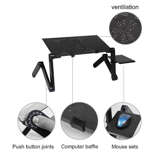 Portable Aluminum Alloy Laptop Desk Holder 360 Degree Adjustable Foldable Notebook Vented Stand