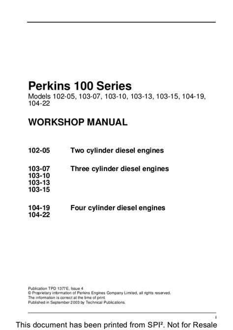 PERKINS 100 SERIES 103-10 DIESEL ENGINE Service Repair Manual
