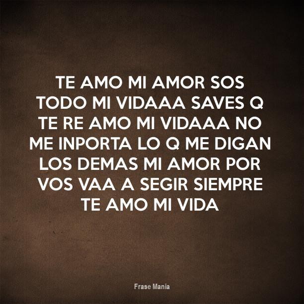 Cartel Para Te Amo Mi Amor Sos Todo Mi Vidaaa Saves Q Te Re Amo Mi