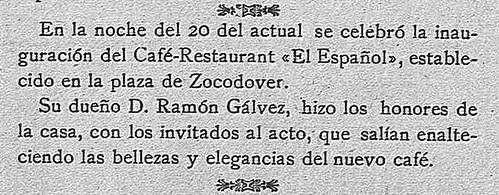 Noticia de la inauguración del café Español de Toledo en La Campana Gorda. 25 de febrero de 1909