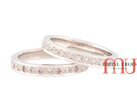 Pink Australian Argyle and white diamond platinum wedding