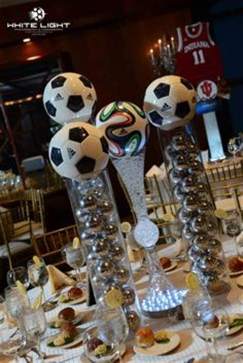 Soccer spandex tablecloths and soccer centerpiece   Bat