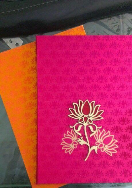 Lotus theme wedding invitation in fushcia pink