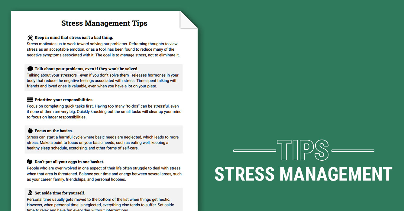 Stress Management Tips (Worksheet) | Therapist Aid