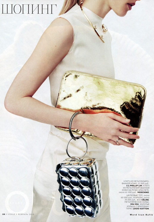LE FASHION BLOG EDITORIAL VOGUE RUSSIA EMILY BAKER WARD IVAN RAFIK METALLICS SILVER GOLD ACCENT ACCESSORIES CELINE WHITE SLEEVELESS TANK SKIRT 31 PHILLIP LIM GOLD MIRROR CLUTCH BAG GOLD RINGS NECK CUFF NECKLACE WRIST RING CLUTCH BAG SILVER BUBBLES 4