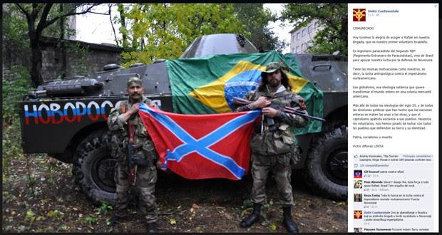 Rafael Lusvarghi postou foto no Facebook como voluntário do exército rebelde pró-Rússia (Foto: Reprodução/Facebook)