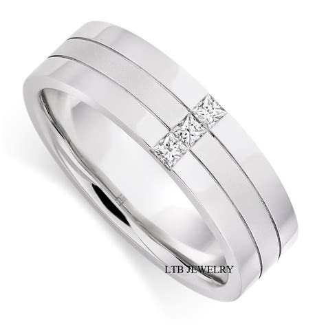 MENS 18K WHITE GOLD DIAMOND WEDDING BAND RING 6MM   eBay