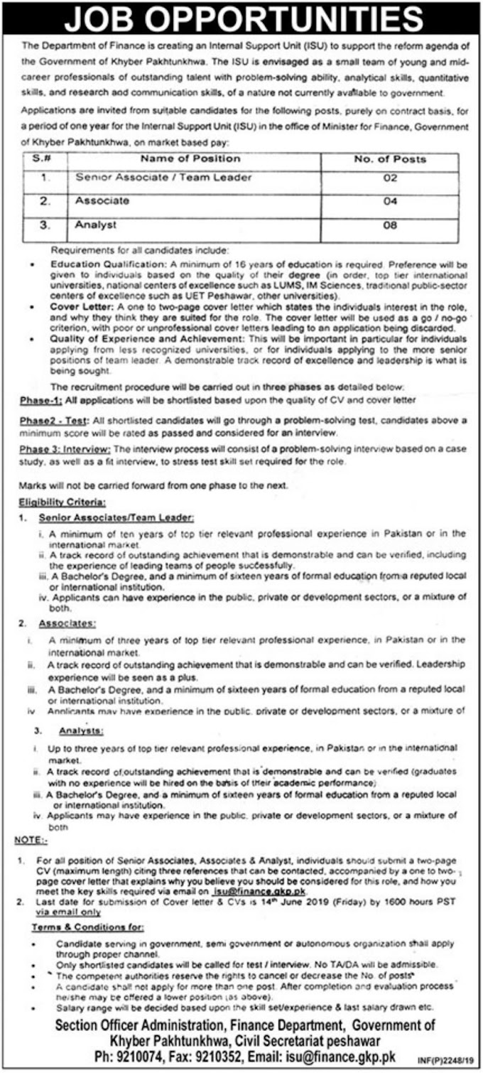 Finance Department Government of Khyber Pakhtunkhwa Jobs 2019