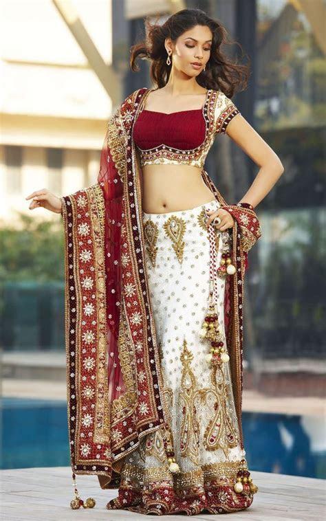 Red & White Lengha #saree #indian wedding #fashion #style