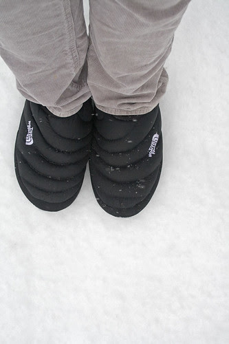 snow walk in slippers