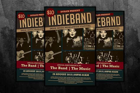 Indie Band Music Flyer ~ Flyer Templates on Creative Market