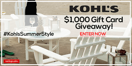 Kohls Giveaway,frugal, retail discounts, gift card giveaway, shop and win, pinitwin, summer style giveaway, summer appearal, summer discounts, frugal summer, summer trends, girly style, diy summer, crafty summer, win, giveaway