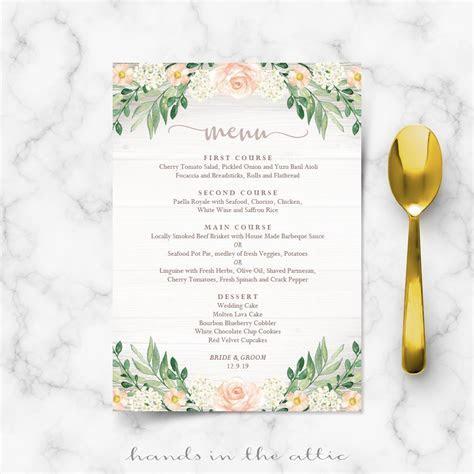 Floral Wedding Reception Menu Template   Wedding Menu