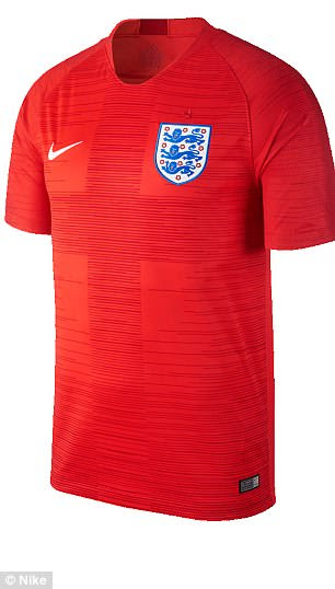 England will return to white shirts and navy shorts with their home kit for the World Cup and feature a red away kit