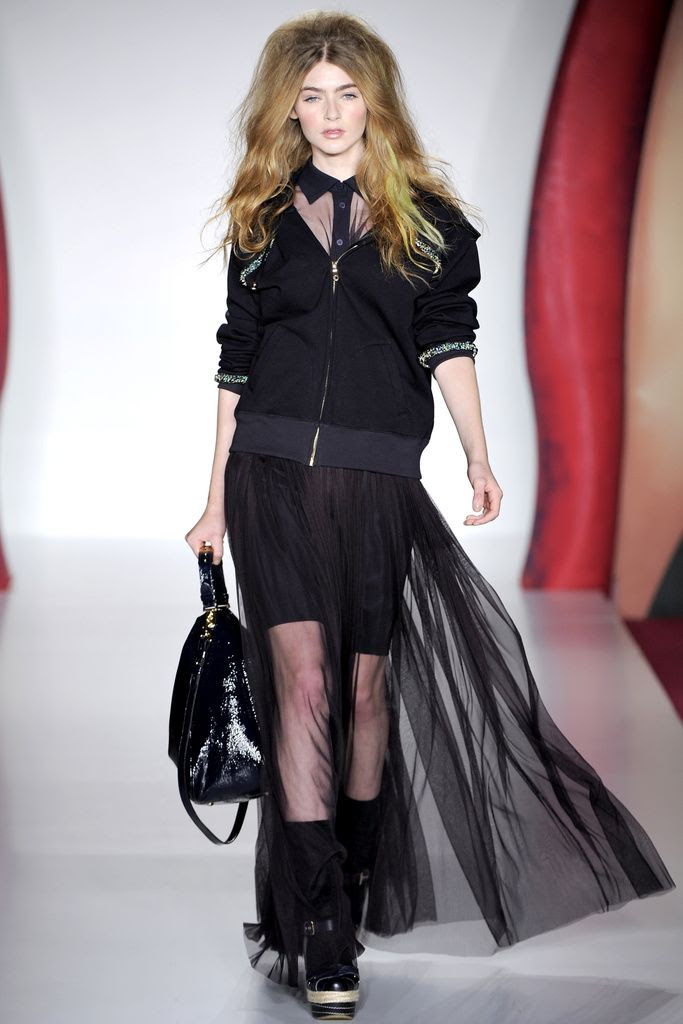 poisepolish.  LFW Spring 2012  Sheer maxi skirts at Mulberry 58b32274c3050