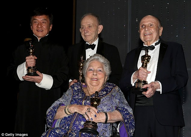 Big night: Along with Jackie,Frederick Wiseman, Anne V. Coates and Lynn Stalmaster - pictured from left to right - were all honoured for their work in film